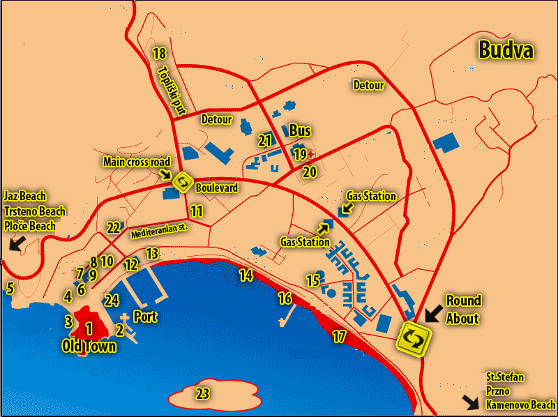carte budva plan