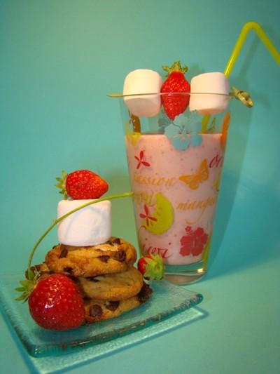 milk shake fraise vanille cookies