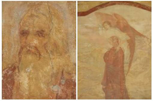 Détails de personnages sur les fresques Monastère de la Transfiguration Bulgarie