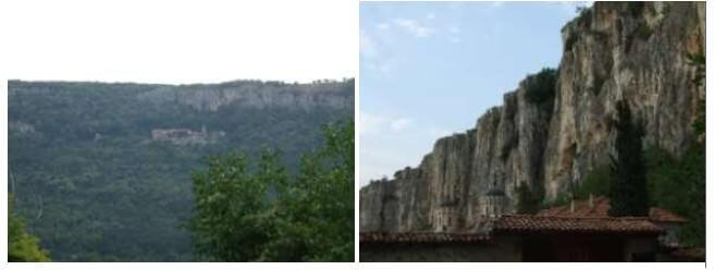 Falaise du monastère de la Trinité en Bulgarie