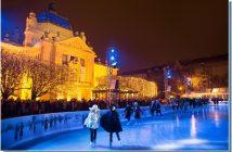 Patinoire en plein air de Zagreb a Noel