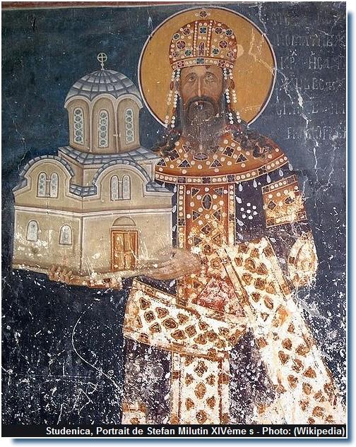Studenica Fresque de Stefan Milutin Chapelle royale