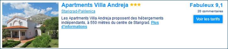 appartement Villa Andreja starigrad paklenica