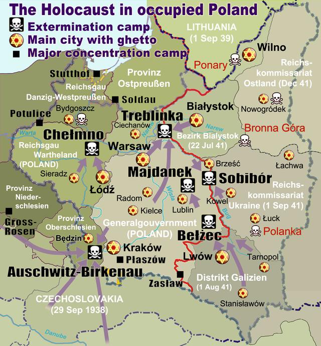 carte camps de la mort nazis