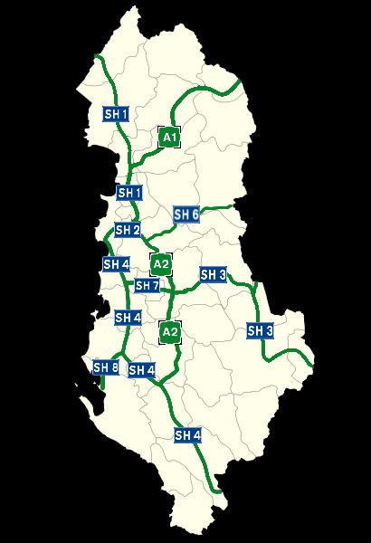 carte routes en Albanie