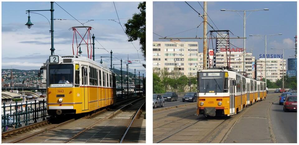 Budapest anciens trams  sur les bords du danube