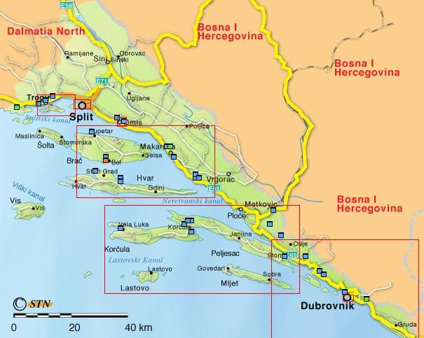 Carte Dalmatie centrale et du sud iles dalmates
