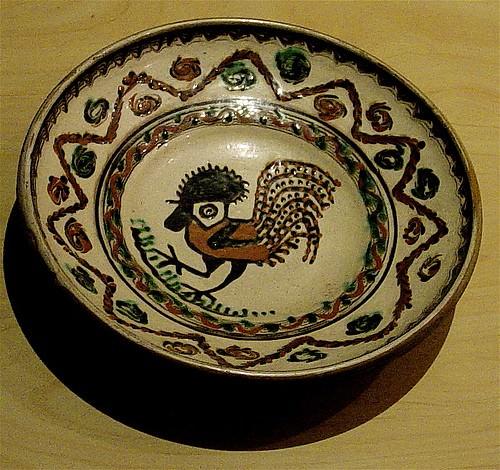 Horezu assiette avec le coq