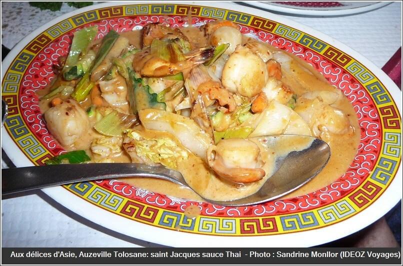 Restaurant Aux délices d'asie auzeville tolosane gambas saint jaques sauce thai