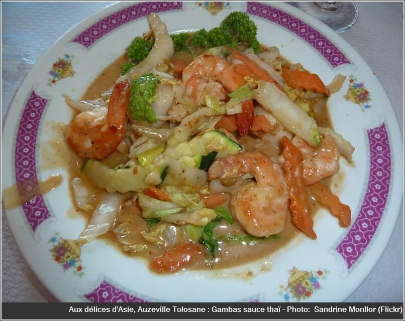 Restaurant aux délices d'asie Auzeville tolosane gambas sauce thai