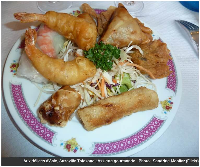 Restaurant aux délices d'asie Auzeville tolozane assiette gourmande