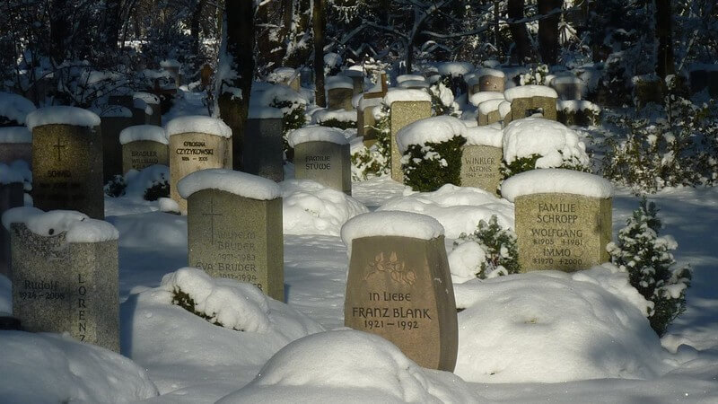 Tombes sous la neige Muenchen Westfriedhof