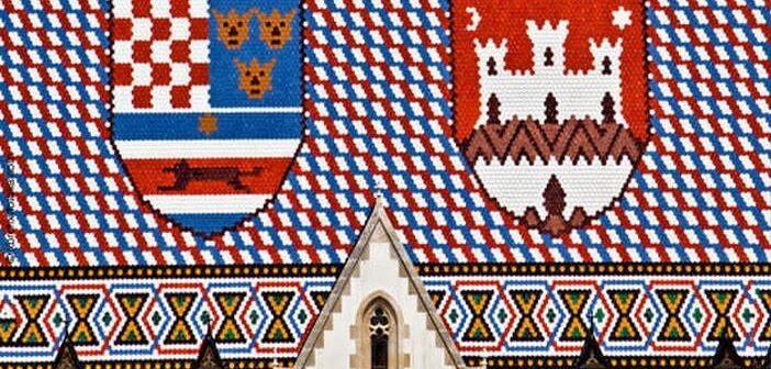 Zagreb Drapeau de la Croatie sur l'église Saint Marc
