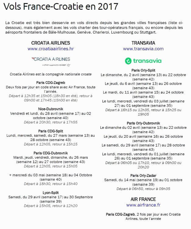 aller en Croatie en avion vols 2017 depuis la France