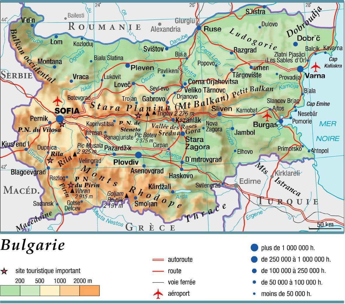 carte bulgarie routes et autoroutes