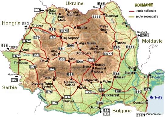 carte des routes en roumanie