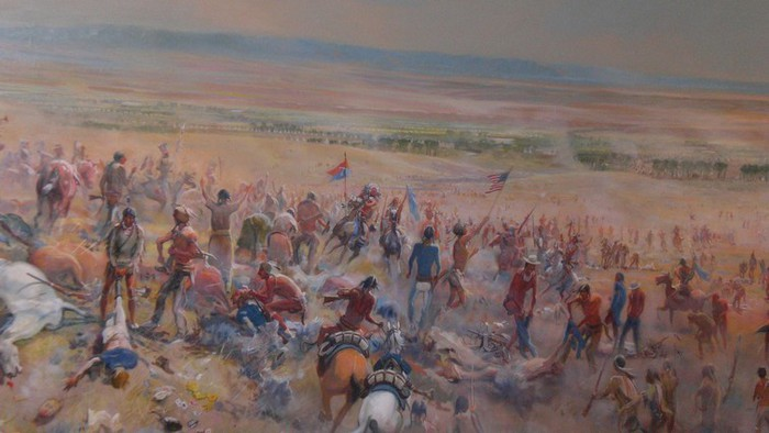 fresque illustrant le massacre de Wounded Knee Creek près de Pine Ridge