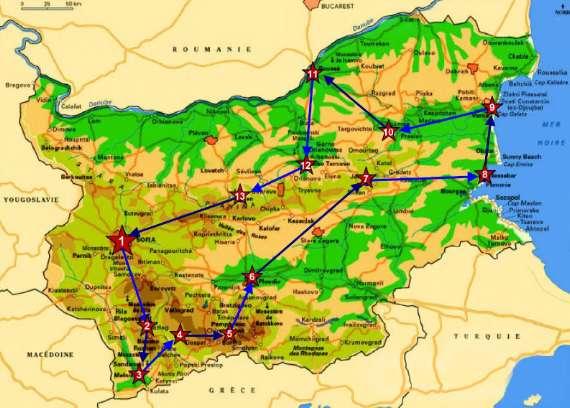 itinéraire en bulgarie carte