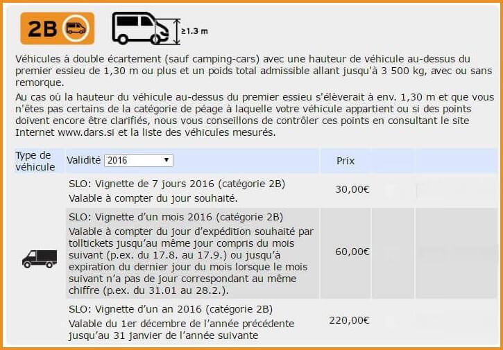 prix vignette autoroute slovénie pour les camions