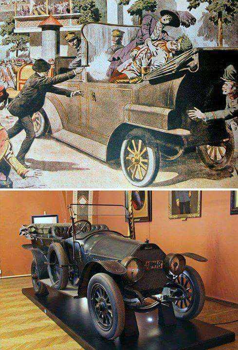 voiture impériale qui transportait Franz ferdinand de habsbourg et son épouse lors de leur visite à sarajevo le 28 juin 1914