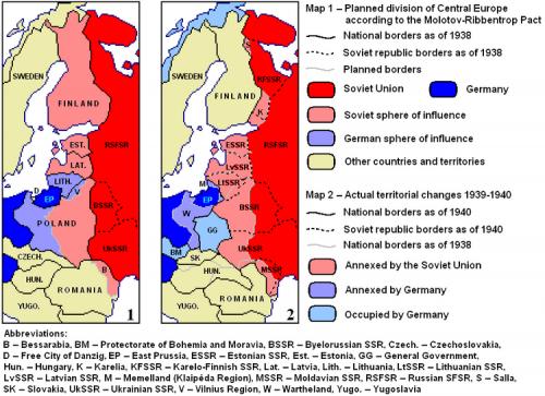 Carte des accords Ribbentrop-Molotov