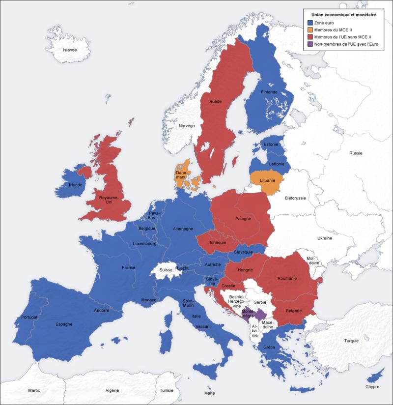 carte europe zone euro