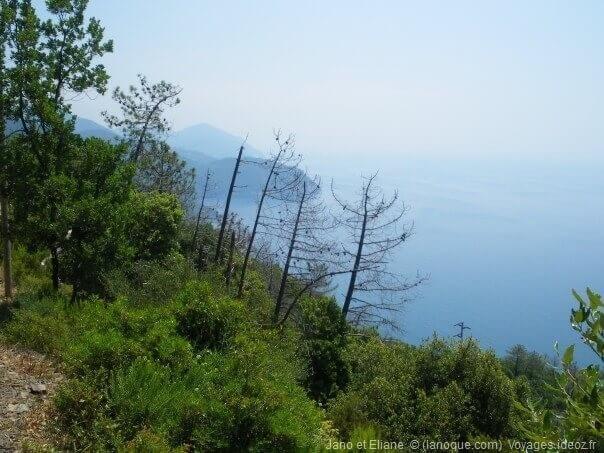 Randonnée avec point de vue sur la côte de Cinque Terre