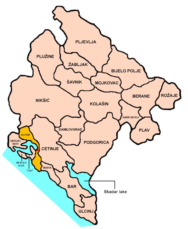 carte montenegro position kotor