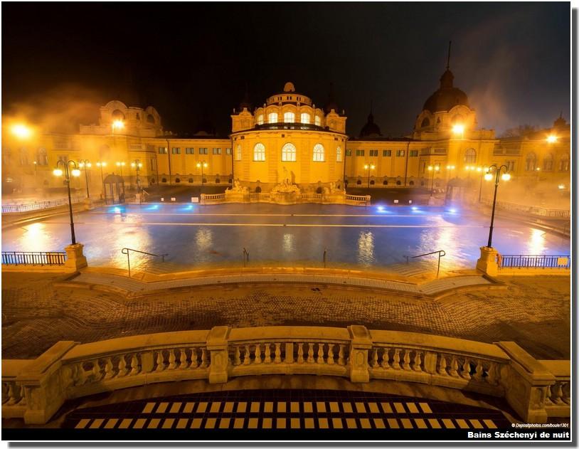 Budapest Bains Széchenyi de nuit