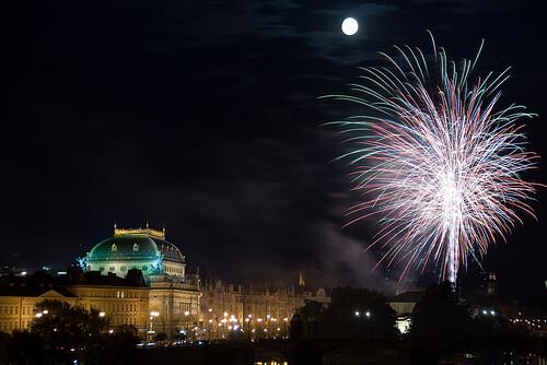 Nouvel An à Prague feu d'artifice