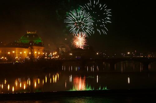 Nouvel An à Prague feux d'artifice