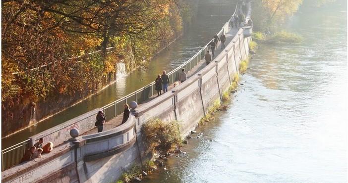 bords de l'isar à Munich en automne