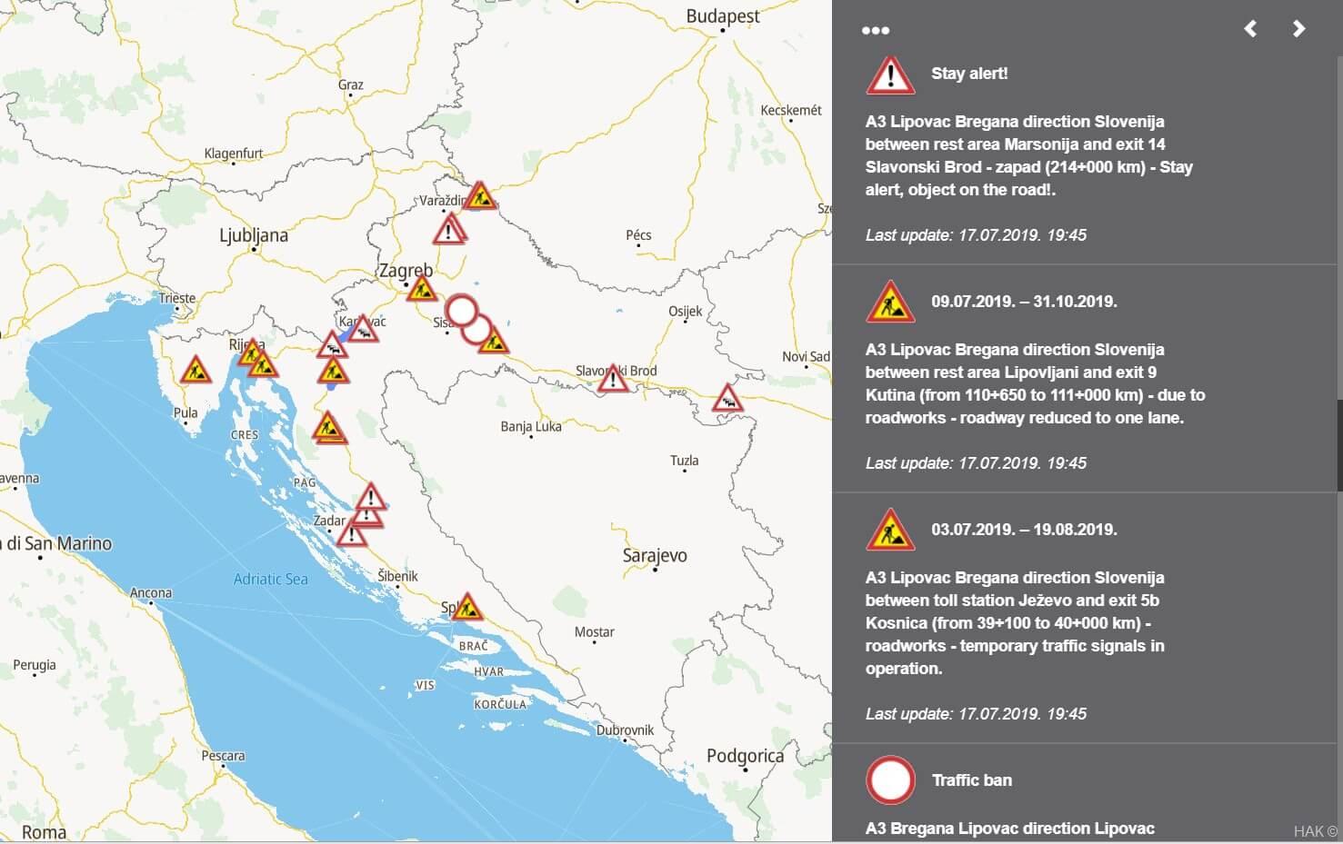 carte des travaux et ralentissements sur les autoroutes en Croatie 2019 (1)