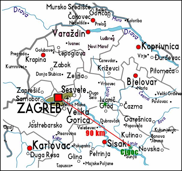 carte croatie centrale zagreb cigoc