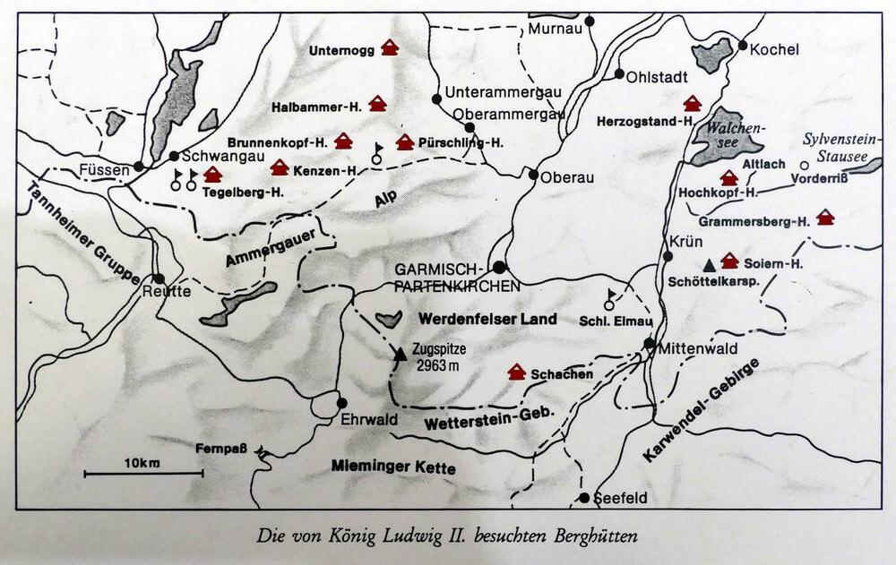 carte refuges de montagne de Louis II de Bavière