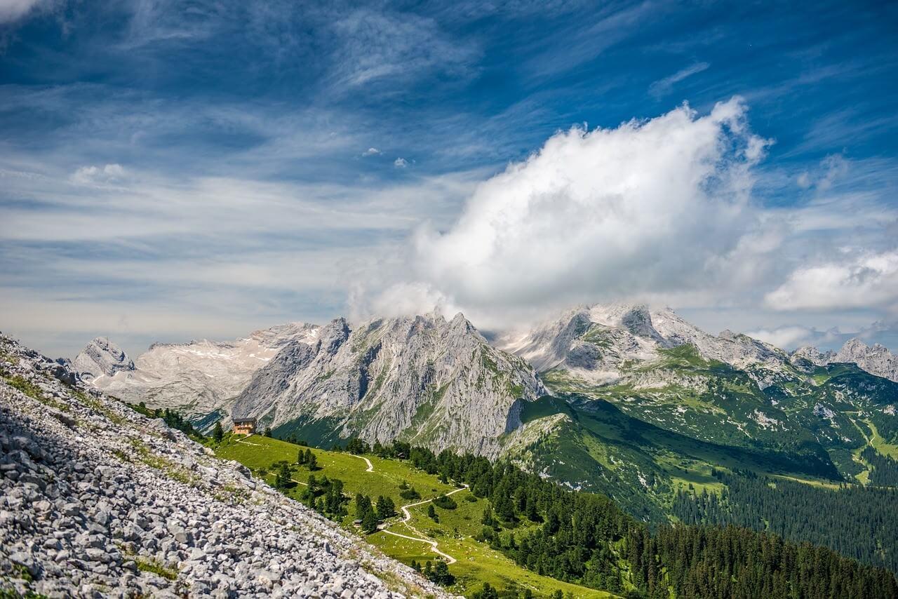 Schachenhaus vue panoramique sur les Alpes bavaroises autour de Garmisch Partenkirchen