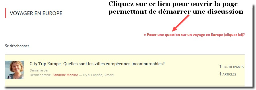 lien demarrer une discussion