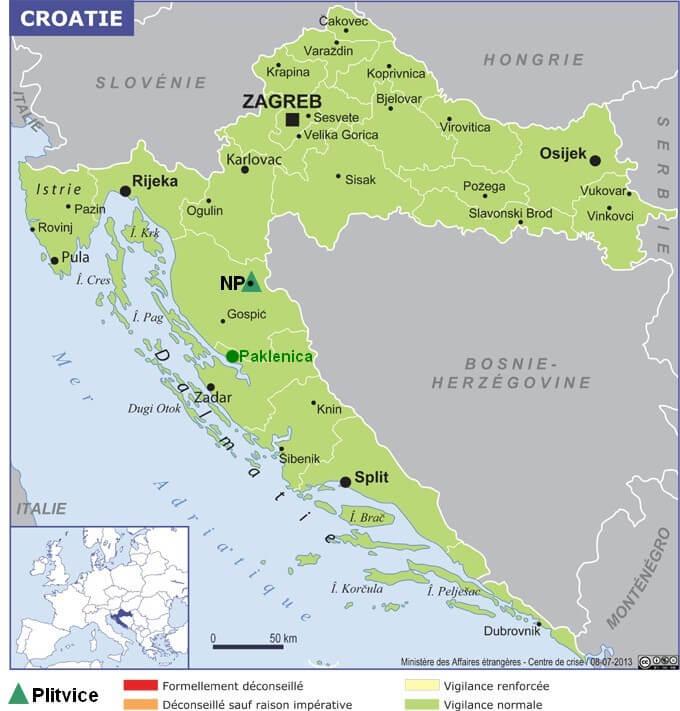 Carte Croatie Plitvice parc Paklenica