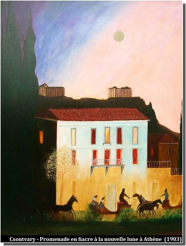 Csontvary prormenade en fiacre à la nouvelle lune à Athènes (1903)