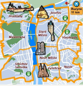 carte quartiers prague logement