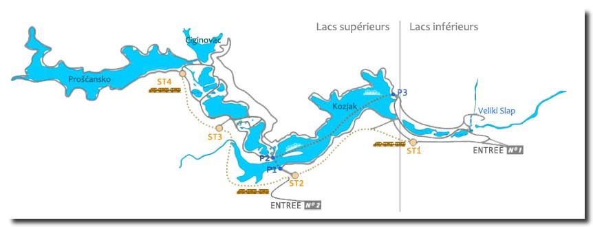 carte des lacs de Plitvice
