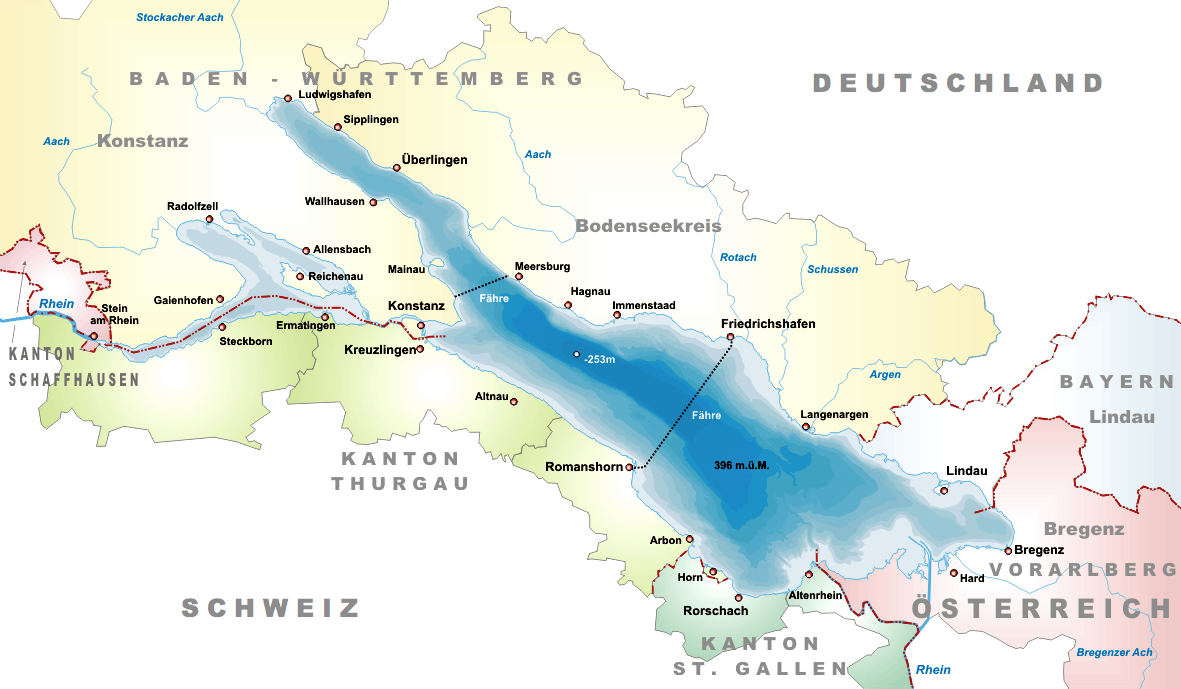 Carte lac Bodensee