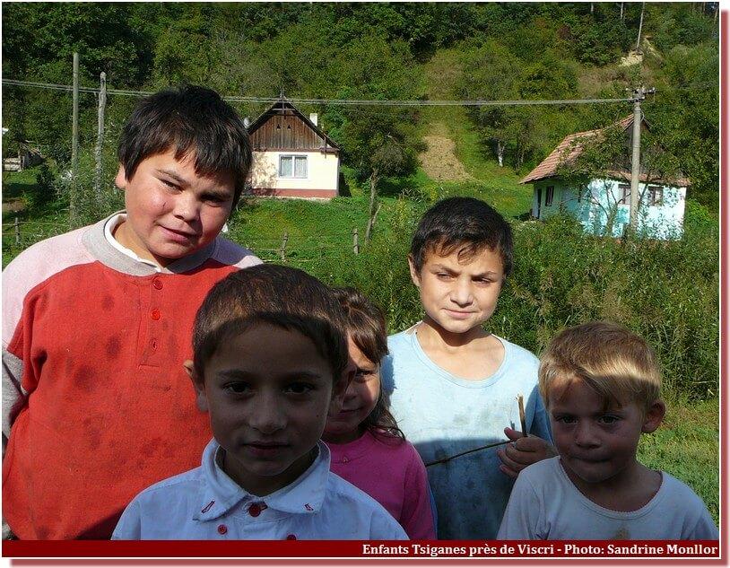 Enfants tsiganes près de Viscri Roumanie