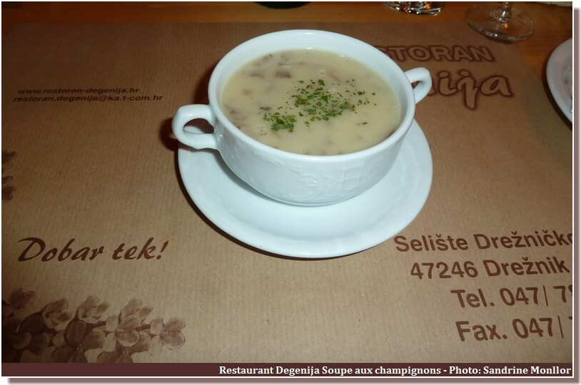 Restaurant Degenija Rakovica soupe aux champignons