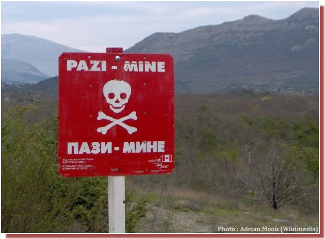 Panneau mines antipersonnel bosnie herzégovine