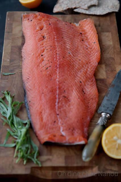 saumon gravadlax au thé earl grey estragon et citron
