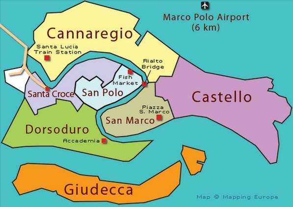 carte des 6 quartiers de venise