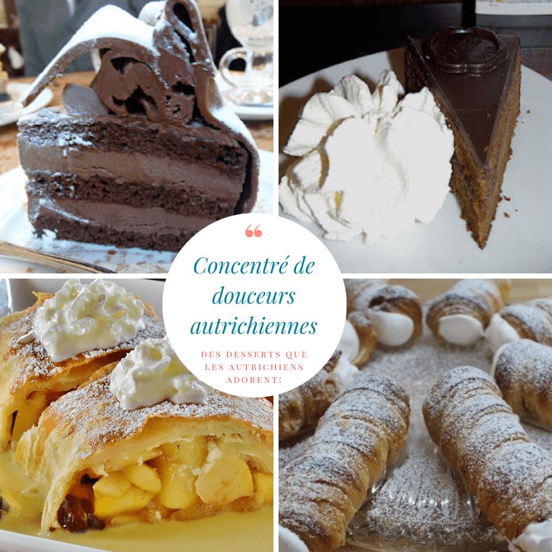 desserts autrichiens sachertorte schaumrolle strudel