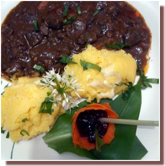 Gibier en sauce et pollenta Mrzlingrad