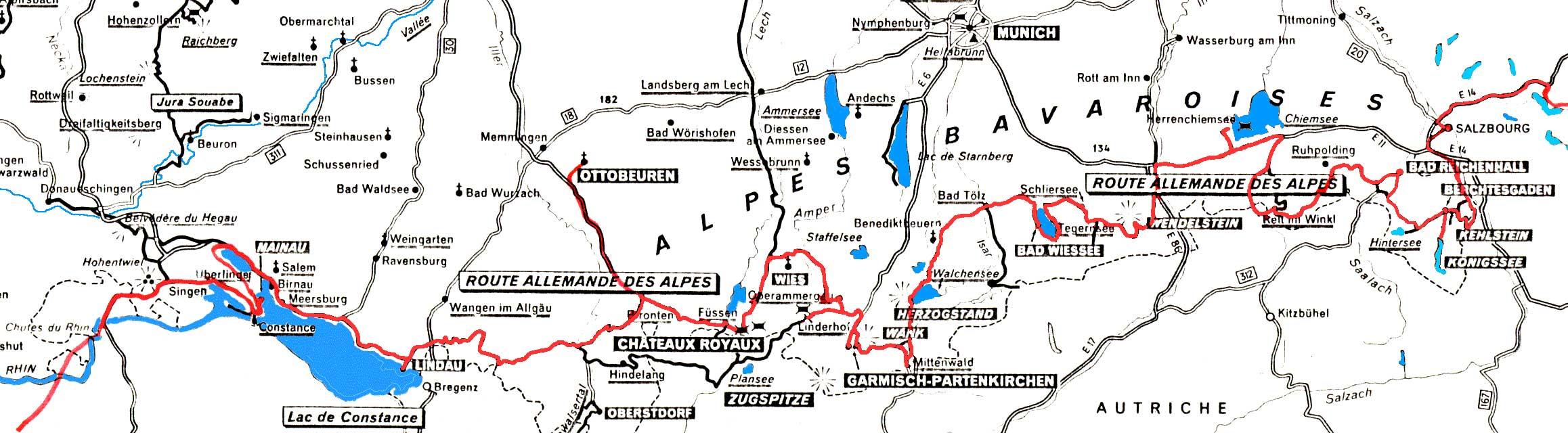 carte route allemande des alpes